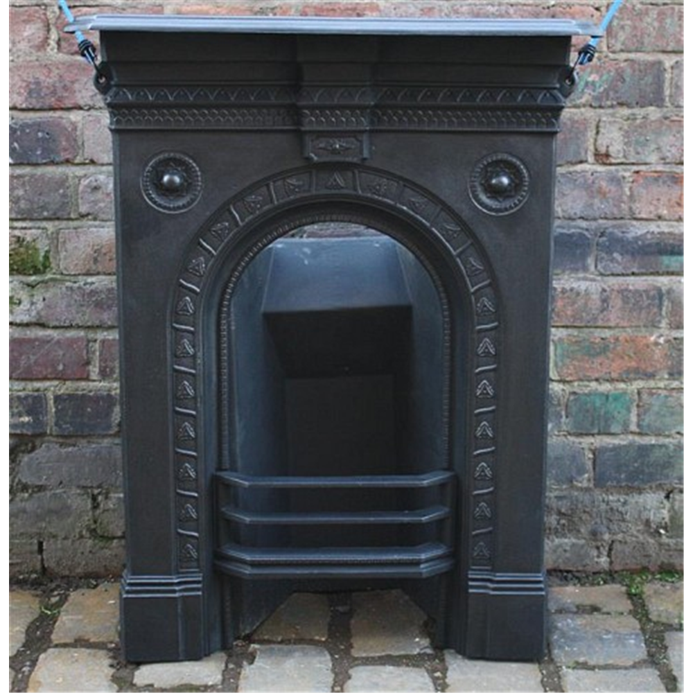 Late Victorian Combination Grate In Cast Iron Bedroom Fireplace