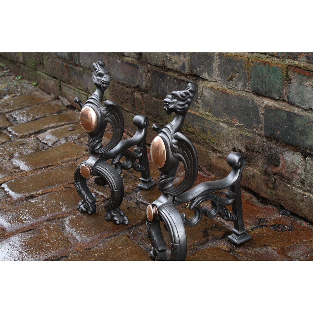 Victorian Fire Dogs In Cast Iron Griffin Fire Dogs
