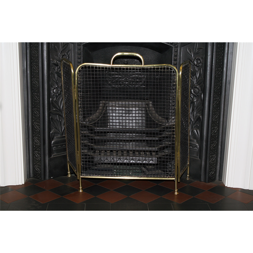 Victorian Brass 3 Fold Fire Screen