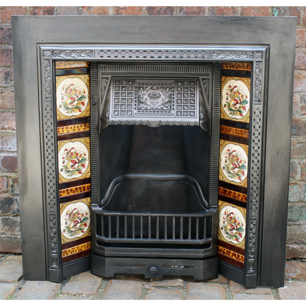 Victorian Tiled Grate In Cast Iron Carron Foundry