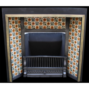 Aesthetic Victorian Tiled Grate With 8'' Minton Sunflower Tiles