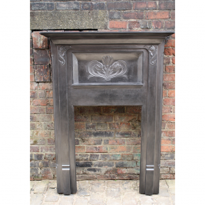 Antique Reclaimed Art Nouveau Cast Iron Fire Surround