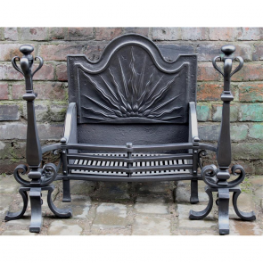 Late Victorian Fire Basket In Cast Iron Arts & Crafts