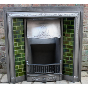 Edwardian Tiled Grate In Cast Iron