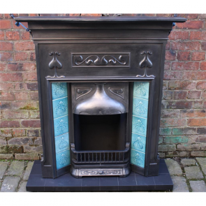 Tiled Art Nouveau Cast Iron Fireplace