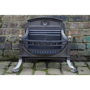 Antique Cast Iron And Brass Victorian Fire Basket